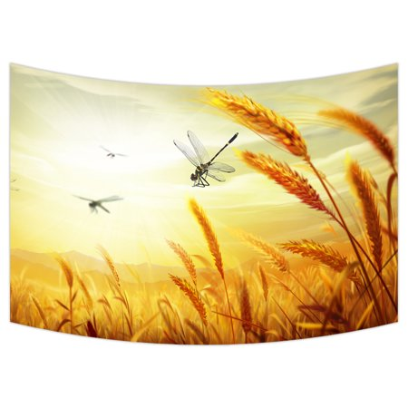 Art Dangle - YKCG Auntumn Landscape Vintage Sunset Wheat Dangled in the Wind Wall Hanging Tapestry Wall Art 90x60 inches