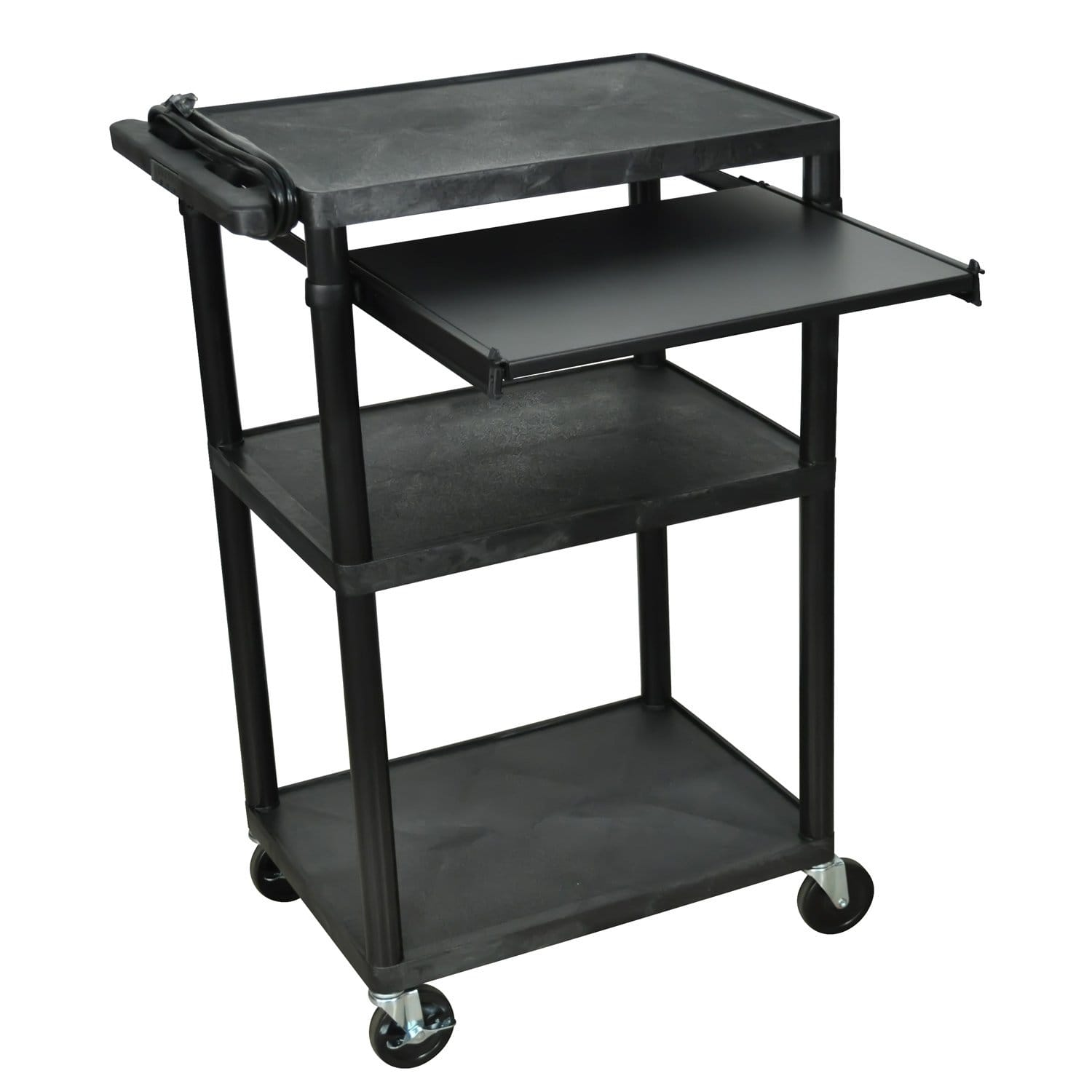 Offex  OF-LP42LE-B Endura Black 3 Shelves Heavy Duty AV Utility Cart with Pull Out Shelf