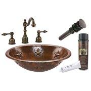 "Premier Copper Products Bsp2_Lo19rstdb 19"" Copper Drop In Bathroom Sink - Bronze"