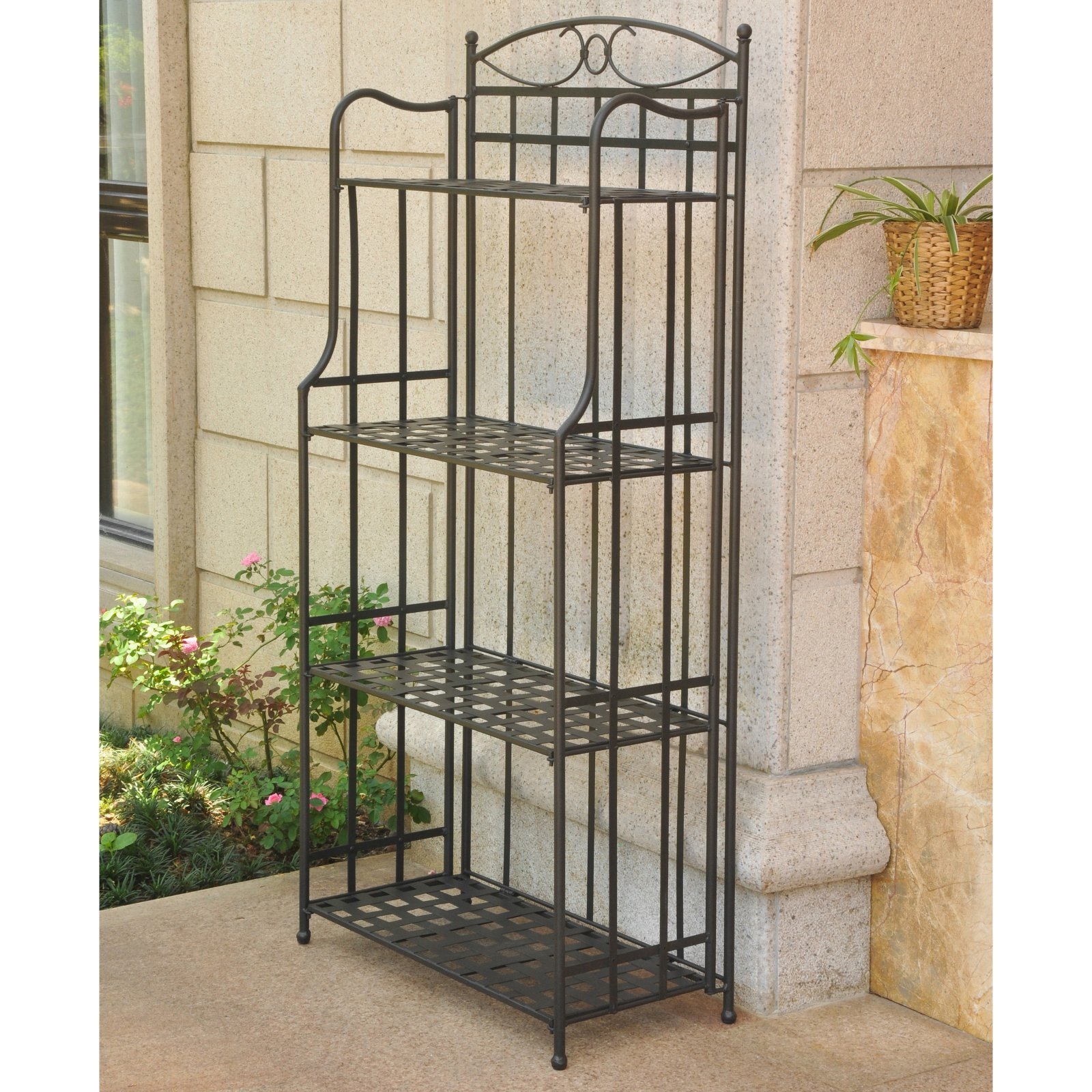 International Caravan Santa Fe Outdoor 4-Tier Bakers Rack