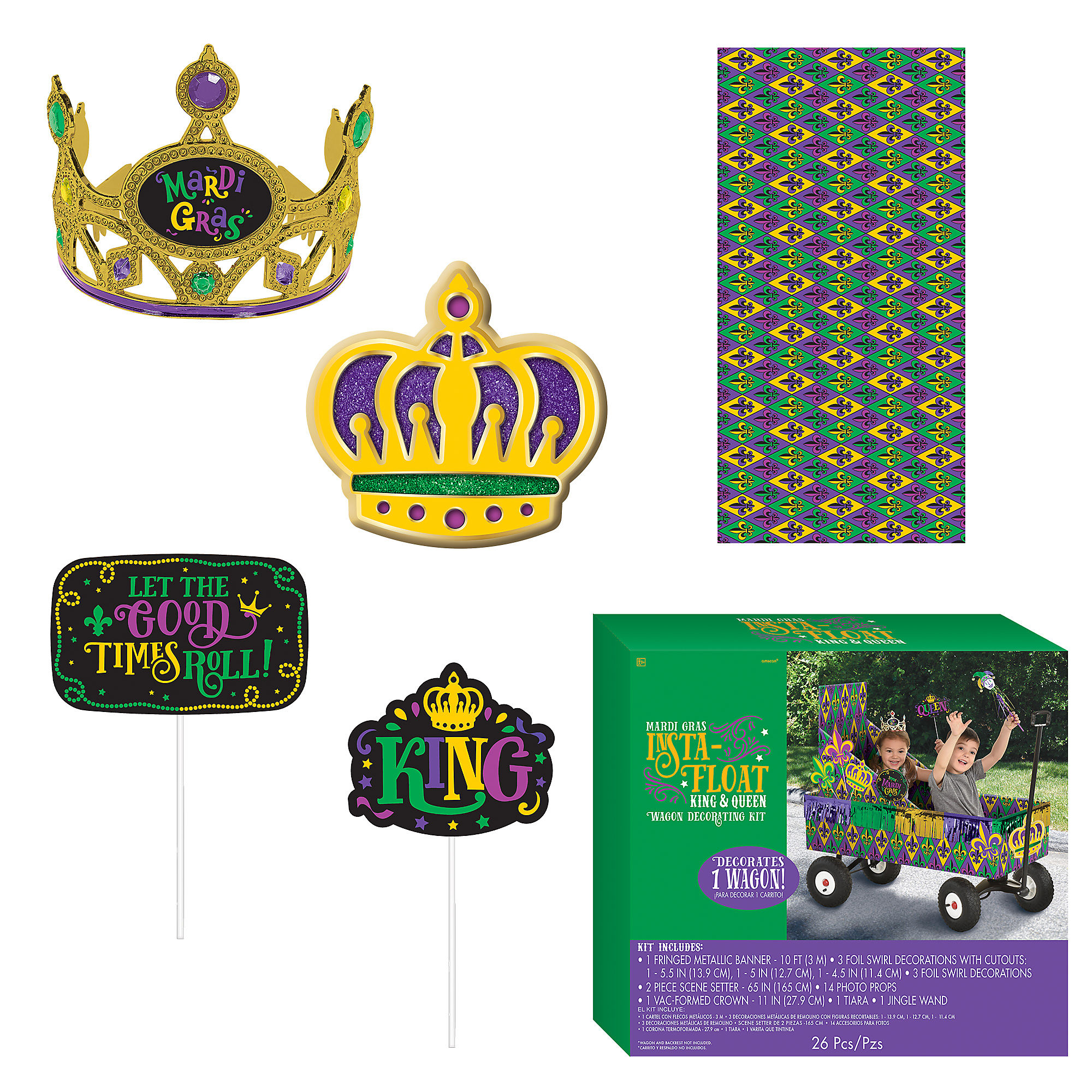 Amscan King Queen Mardi Gras Float Kit Wagon Decorating Kit 26 Pieces Includes Banner And More Walmart Com Walmart Com