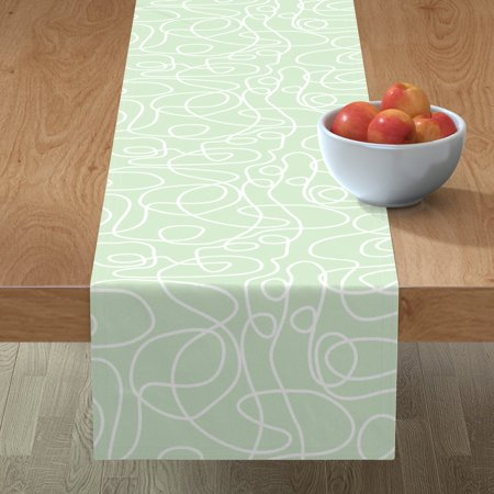 Image of Table Runner Simple Pattern Pattern Gender Neutral Doodles Mid Cotton Sateen