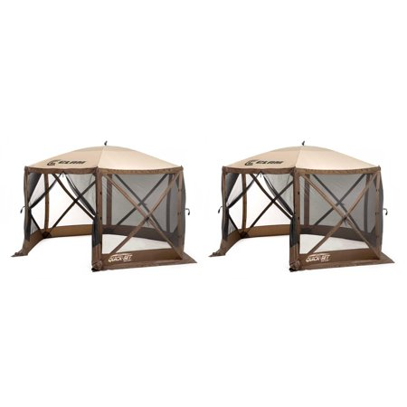 - Clam Quick Set Escape Portable Camping Outdoor Gazebo Canopy, Brown/Tan (2 Pack)