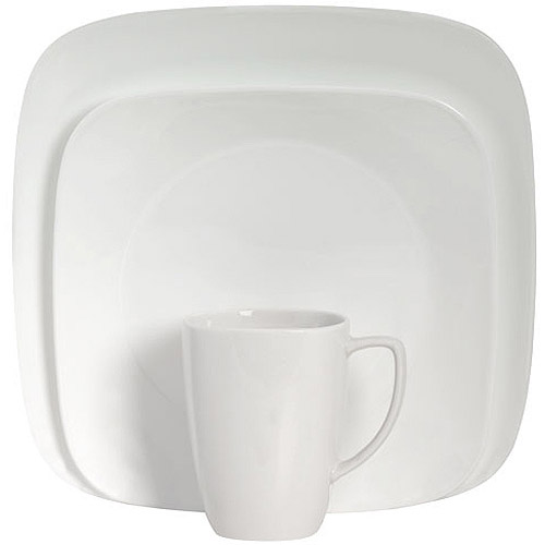Corelle Squares Pure White 32-Piece Dinnerware Set