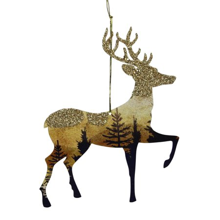 "6"" Glittered Woodland Reindeer Silhouette Christmas Ornament"