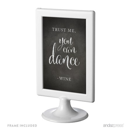 Trust Me, You Can Dance - Wine Framed Vintage Chalkboard Wedding Party Signs - Vintage Halloween Dance Party