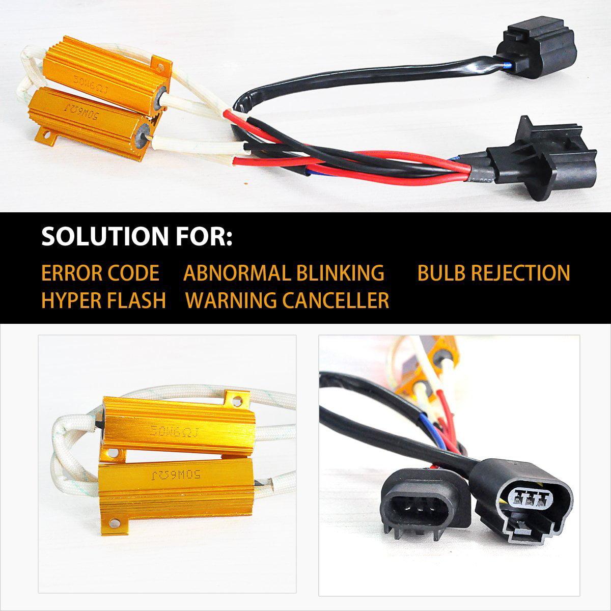 2x H13 LED Headlight Error Free Anti Flicker Resistor Canceller Decoder edf