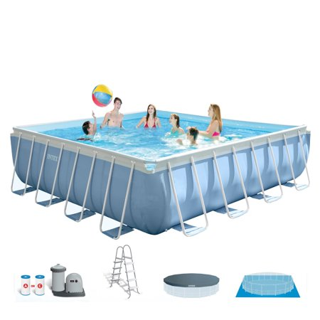 intex 14 x 42 prism xl frame square above ground pool set with filter - Square Above Ground Pool