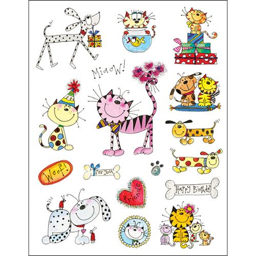"Penny Black Sticker Sheet 7""X9""-Whiskers & Tails"
