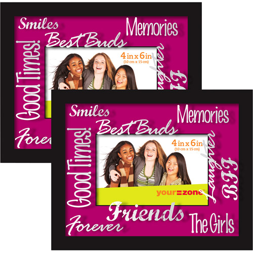 your zone 4x6 shadow box picture frame, black and pink, set of 2