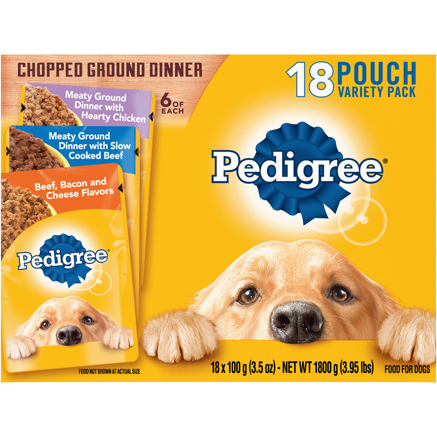 Pedigree Chopped Ground Dinner Variety Pack With Chicken, Beef & Bacon Wet Dog Food, 3.5 Oz (18 Count)