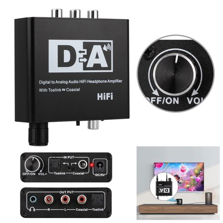 192kHz DAC Converter, TSV Digital to Analog Converter Volume Control Digital Optical Coaxial Toslink to Analog Stereo L/R RCA 3.5mm Audio Adapter for Xbox DVD Blu-ray PS3 PS4 AV Amps Cinema (Difference Between Analog And Digital Control System)