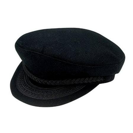 Deluxe Black Greek Fisherman Lennon Hat Cap Braided Wool Felt Costume Accessory