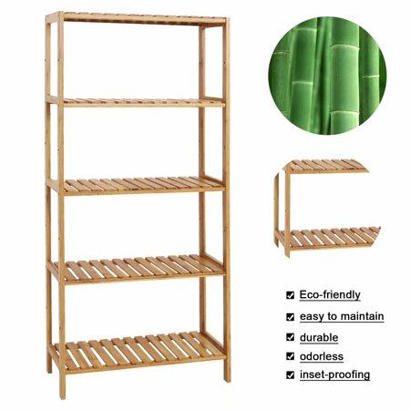 Kinbor Bamboo Rack Multifunctional Bathroom Kitchen Living Room Holder Plant Flower Stand 5-Tier Utility Storage Shelf