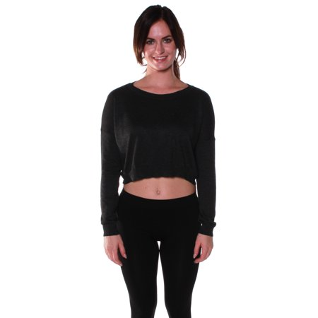 Emmalise Junior Women's Light Weight Crop Sweater Scoop Neck Long Sleeves (Cropped Long Sleeve Sweater)