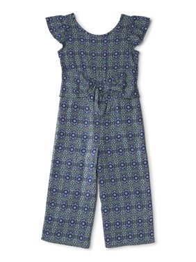 Wonder Nation Girls 4-18 & Plus Ruffle Sleeve Tie Front Jumpsuit