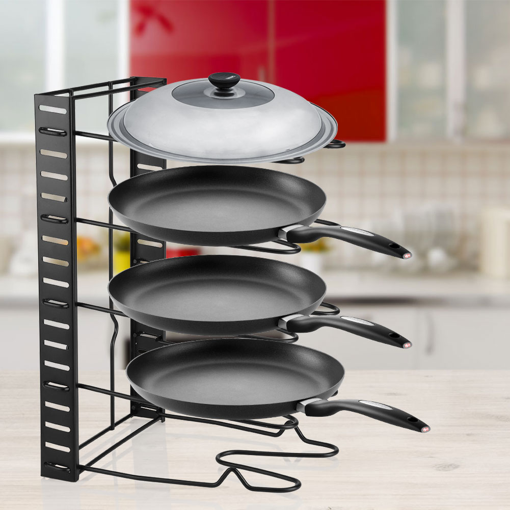 Kitchen Pan Organizer, Estink Iron Multi Tiers Pot Frying Pan Lid Storage Rack  Cookware Stand
