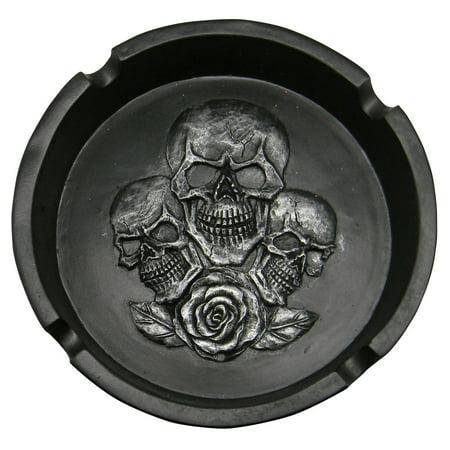 Skulls w/ Rose Polyresin Ashtray - 5.5