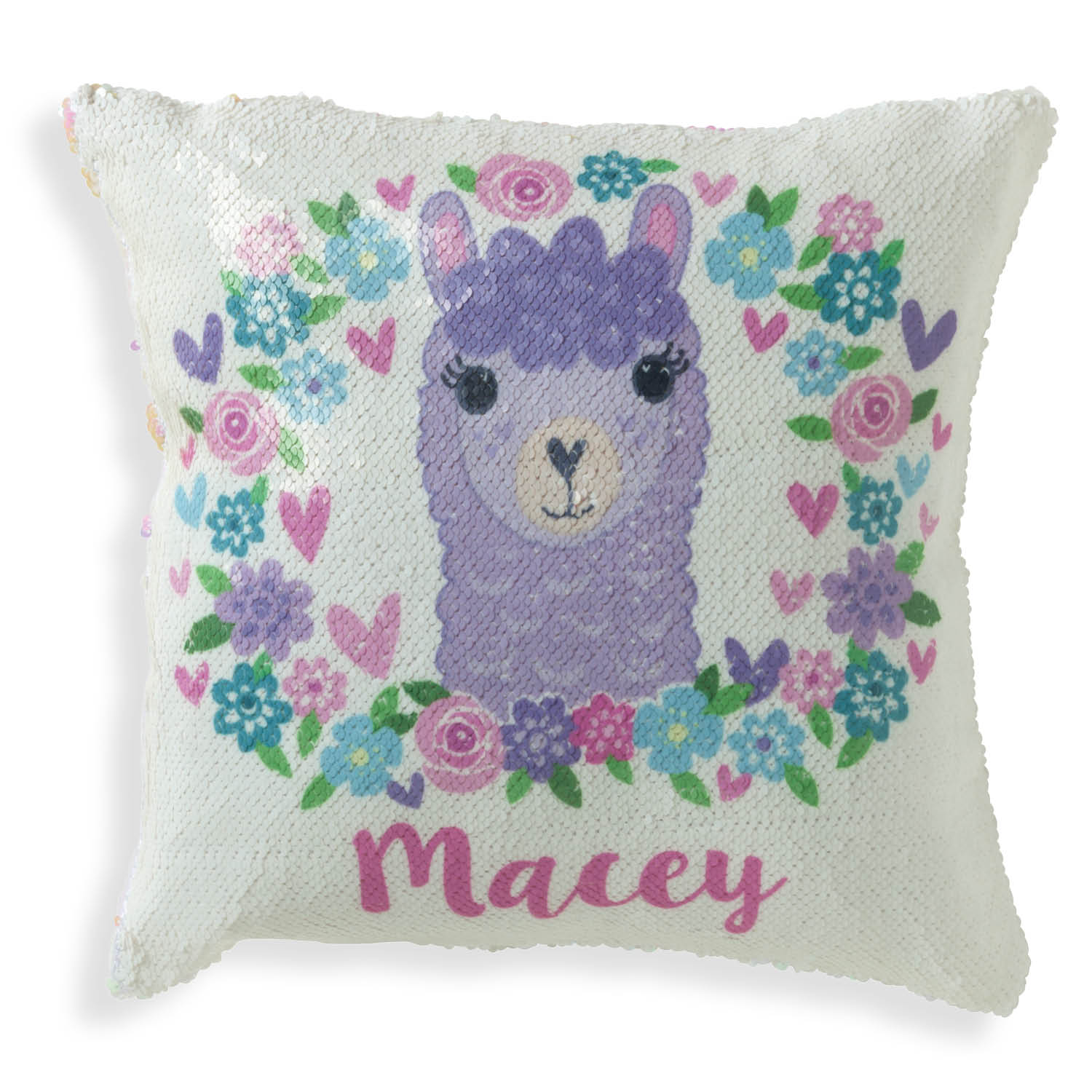 Personalized Reversible Pink Sequin Llama Pillow - 16x16