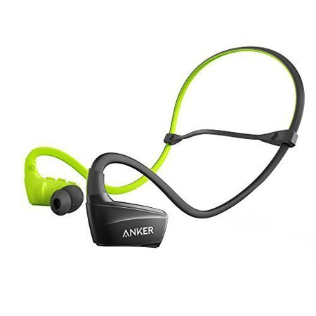Anker SoundBuds NB10 Bluetooth Earbuds Sweatproof, Secure Fit Sport Wireless Headphones with Enhanced Bass for Work Out, Running, BMX, and Boxing (Black + Green)