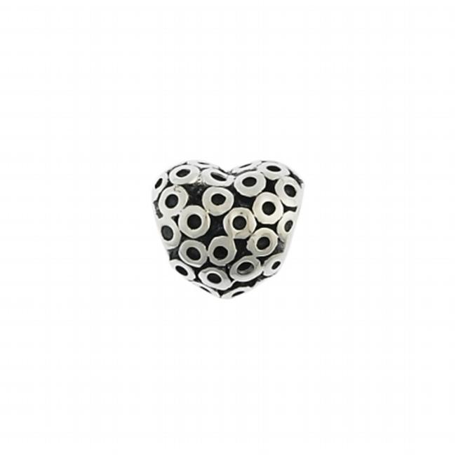 151186 Circles Heart Bead in Sterling Silver.  Weight- 3. 40g