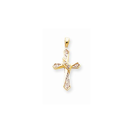 14K Yellow Gold Charm Pendant Themed Diamond Round 24 mm 18