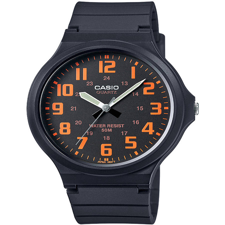 Casio Men's Super-Easy Reader Watch, Black/Orange Dial, MW240-4BV