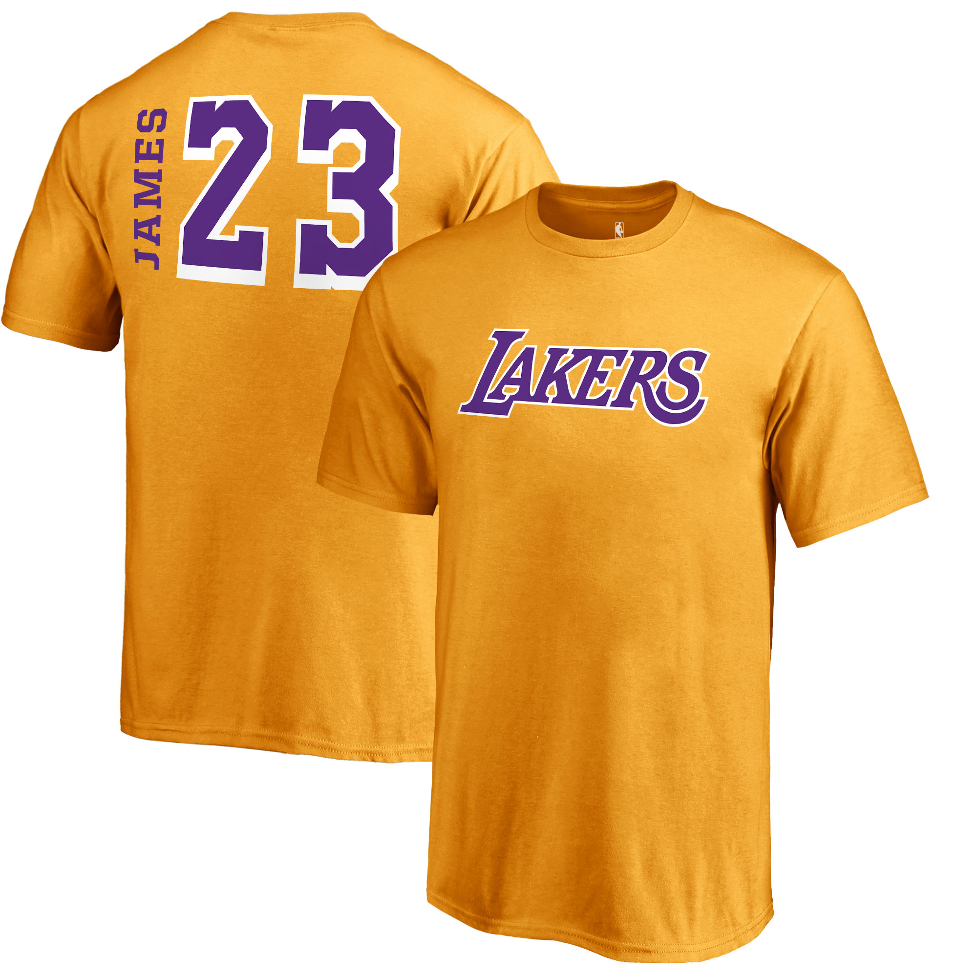 LeBron James Los Angeles Lakers Fanatics Branded Youth Sidesweep Name & Number T-Shirt - Gold