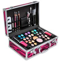 Vokai Makeup Kit Gift Set - 51 Piece 32 Eye Shadows 2 Blushes 2 Lipsticks 2 Lip Glosses 2 Eye Liner Pencils 1 Lip Liner Pencil 1 Mascara - Case with Carrying Handle