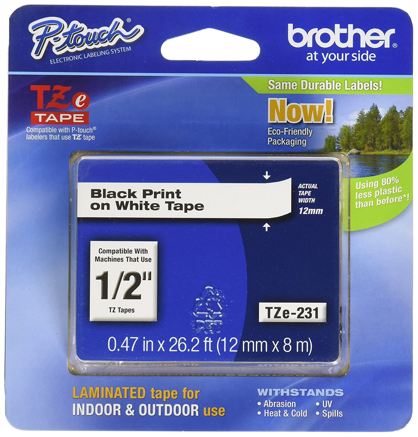 Brother 26.2-Foot Black on White 1/2-Inch Labeling Tape (TZe231)