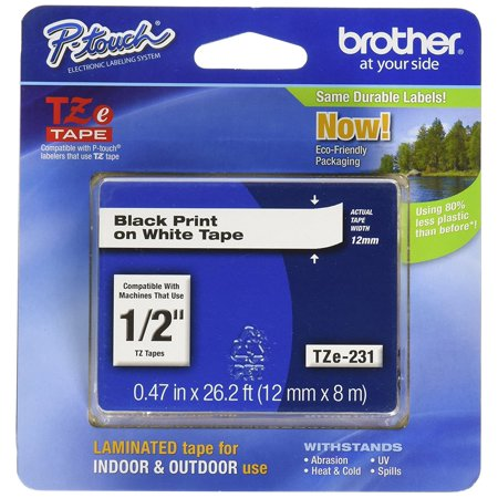 White 0.5 Labeling Tape (Brother 26.2-Foot Black on White 1/2-Inch Labeling Tape)