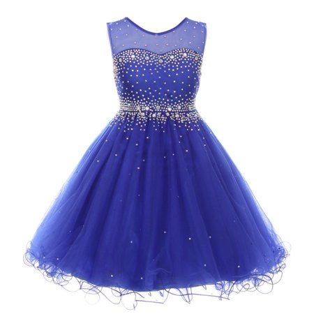 Girls Royal Blue Sparkling Rhinestone Illusion Tulle Party Formal Dress ()