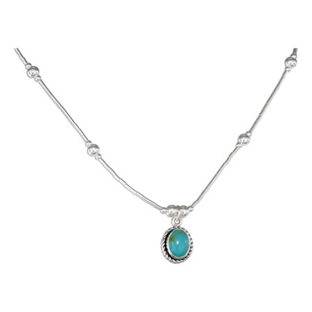 "STERLING SILVER 16"" ROPED EDGE OVAL SIMULATED TURQUOISE PENDANT NECKLACE"