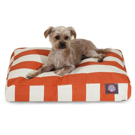 Majestic Pet Vertical Stripe Rectangle Dog Bed Treated Polyester Removable Cover Burnt Orange Small 27
