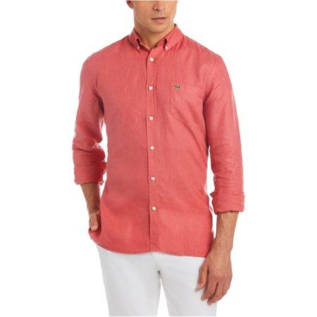 Lacoste Mens Linen Button Up Shirt