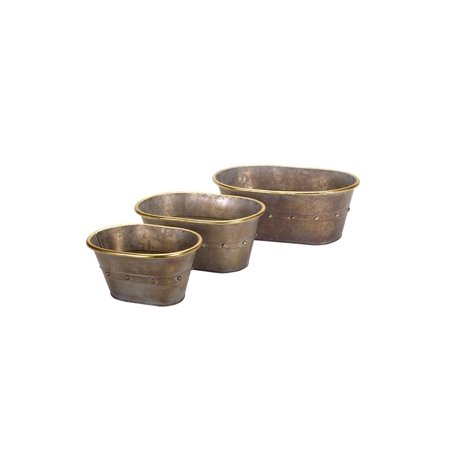 - Set of 3 Decorative Tin Tubs with Gold Accents Table Top Decorations