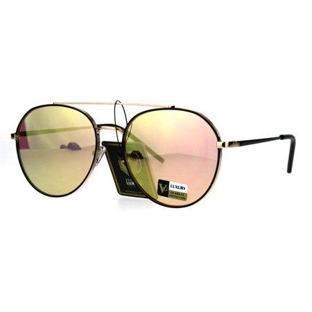 e2468102a49 SA106 - Luxury Designer Fashion Metal Rim Aviator Flat Top Bar Sunglasses  Black Peach - Walmart.com