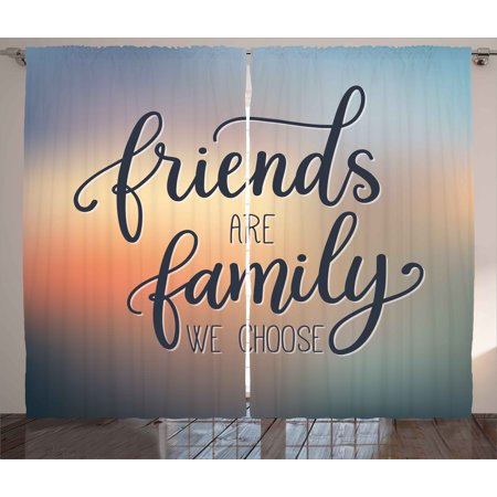 Family Curtains 2 Panels Set, Friends are Famly We Choose Inspirational Phrase Fashion Print BFF Theme, Window Drapes for Living Room Bedroom, 108W X 84L Inches, Dark Blue Yellow Peach, by Ambesonne (Windows 7 Family)
