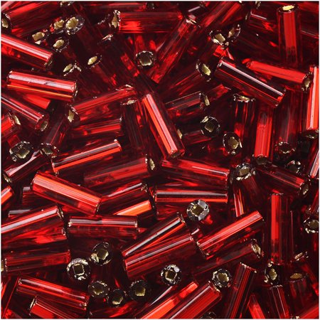 Czech Glass Bugle Beads, Cylinder Size #3 '7mm', 24 Gram Tube, Garnet S/L