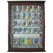 36 Shot Glass Display Case Wall Cabinet Holder Rack - Cherry Finish (SCD06B-CH)