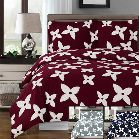 Luxury Soft 100% Cotton 3 Piece Duvet Cover Set Printed - Full/Queen - Desiree Burgundy ()