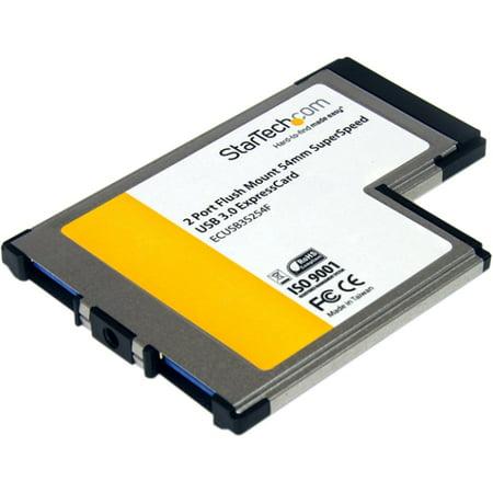 StarTech.com 2 Port Flush Mount ExpressCard 54mm SuperSpeed USB 3.0 Card Adapter (Analog Pci Expresscard)