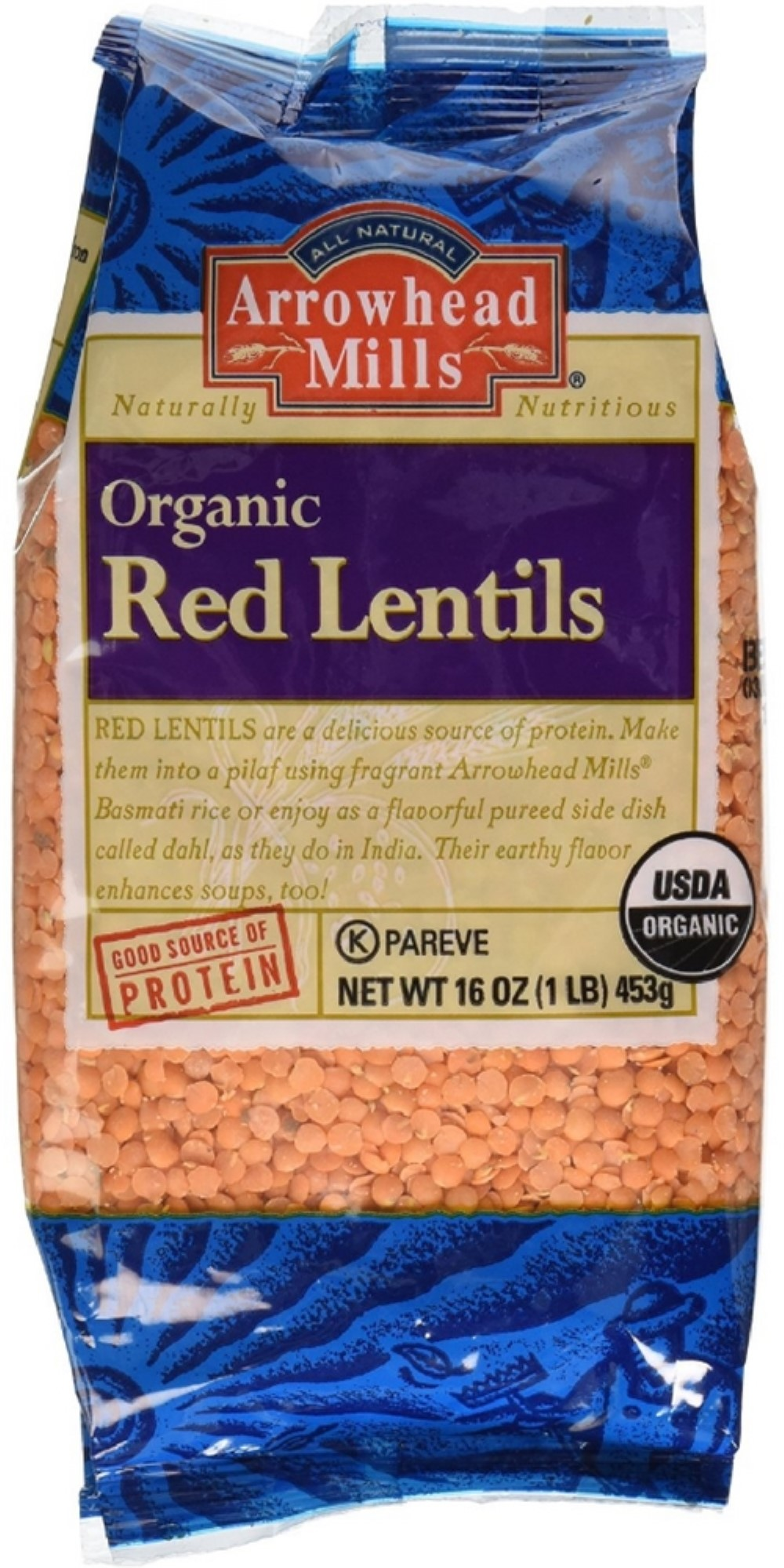 Arrowhead Mills Organic Red Lentils 16 oz (Pack of 2) by