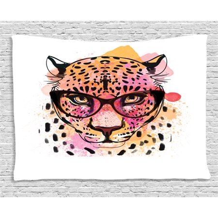 Painted Glass Wall (Fashion House Decor Tapestry, Watercolor Portrait of Leopard with Glasses Splashing Paint Style, Wall Hanging for Bedroom Living Room Dorm Decor, 60W X 40L Inches, Orange Pink, by Ambesonne)