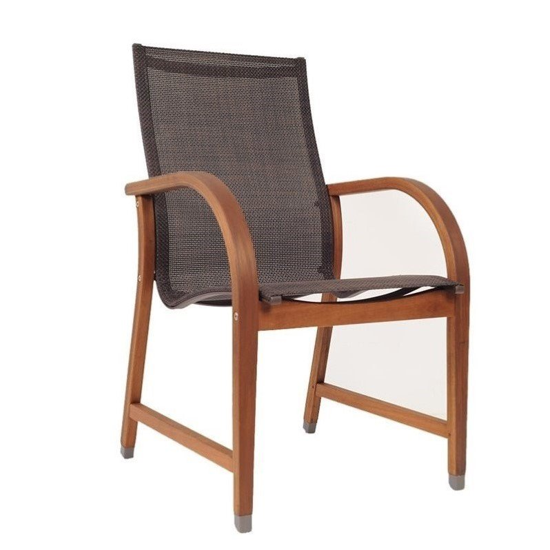 International Home Amazonia 4 Piece Patio Dining Chair in Brown
