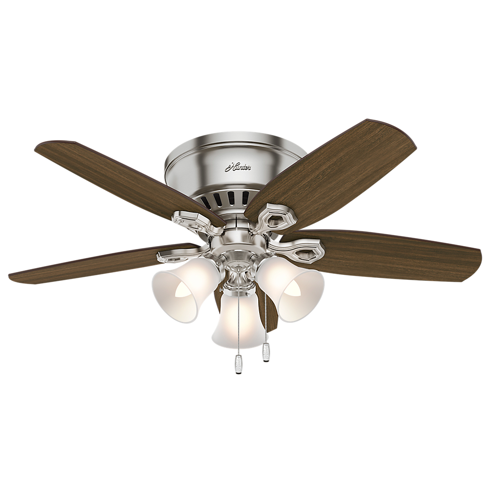 """Hunter 42"""" Builder Low Profile Brushed Nickel Ceiling Fan with Light by Hunter"""