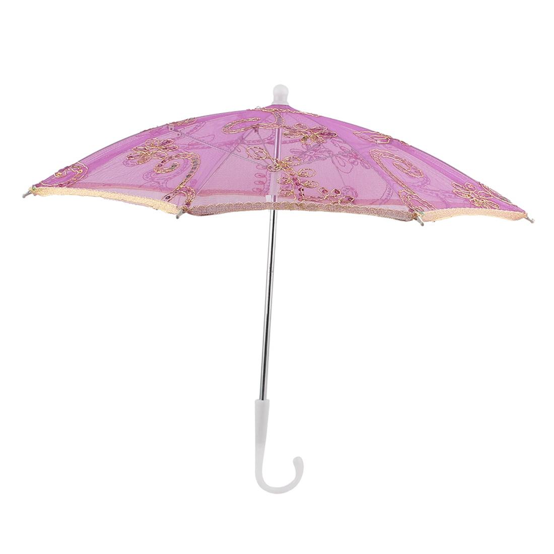 Unique Bargains Dancing Gold Tone Edge Flower Pattern Nylon Mini Lace Parasol Umbrella Fuchsia - image 5 de 5