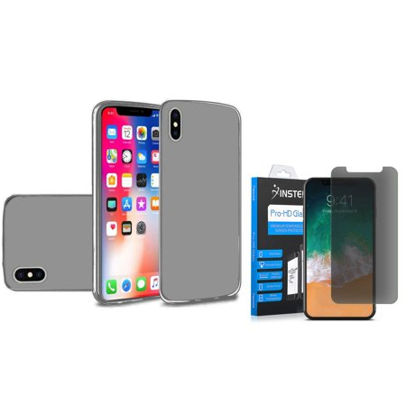 Insten TPU Gel Case Cover For Apple iPhone X 2017, Smoke (Combo with Tempered Glass Privacy HD Anti Spy Screen (Smoke Tpu Gel)
