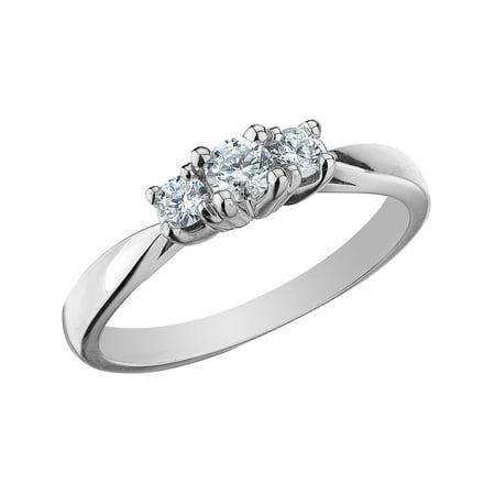 - Diamond Three Stone Anniversary Ring 1/4 Carat (ctw) in 10K White Gold