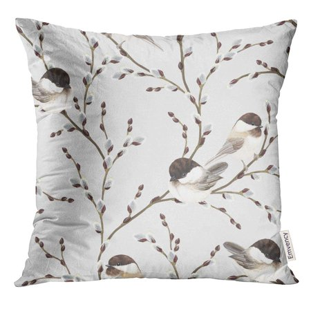 ARHOME Brown Animal of Willow Branches and Birds Black Capped Chickadee on Gray in Vintage Watercolor Style Pillow Case 16x16 Inches Pillowcase